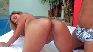 Red g-string beauty fucked poolside