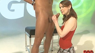 Little teen lassie is scared to get so lengthy huge cock in her mouth