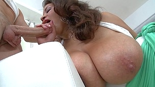 This vulgar and pretty babe gets pounded on the sofa