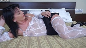 Hawt mother I'd like to fuck toying onher couch