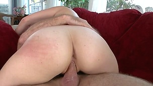 Curious blonde with big ass is riding on his huge dick