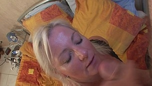 Golden-Haired mama getting her scones filled with cum