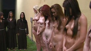 Group of lesbian sexy babes are going crazy while gathered for pussy pleasuring