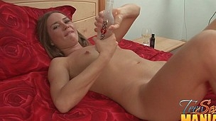 Teen enjoys playing with her pussy till her guy shows up