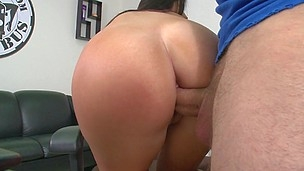 Accurate slut with round ass is riding on his big pecker