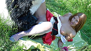 Red Riding Hood pounded outdoors